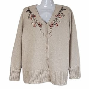 Northern Reflections Embroidered Knit Cardigan XL